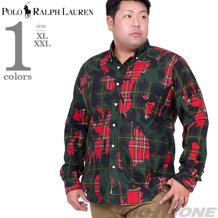 大きいサイズ メンズ POLO RALPH LAUREN ポロ ラルフローレン 迷彩柄 長袖 ボタンダウン シャツ USA直輸入 710760882