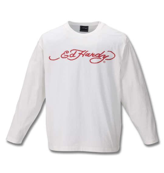 大きいサイズ メンズ Ed Hardy 天竺 プリント 長袖 Tシャツ オフホワイト 1178-9690-1 3L 4L 5L 6L