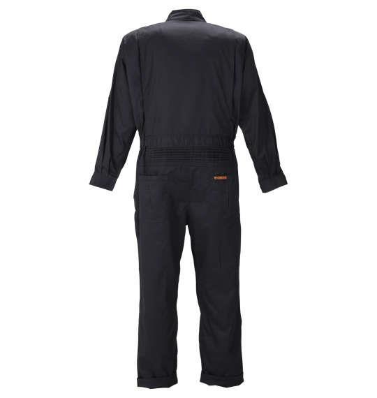 大きいサイズ メンズ FORECAST T/C ツイル 長袖 股ハギ つなぎ服 ブラック 1176-9330-2 3L 4L 5L 6L 7L 8L
