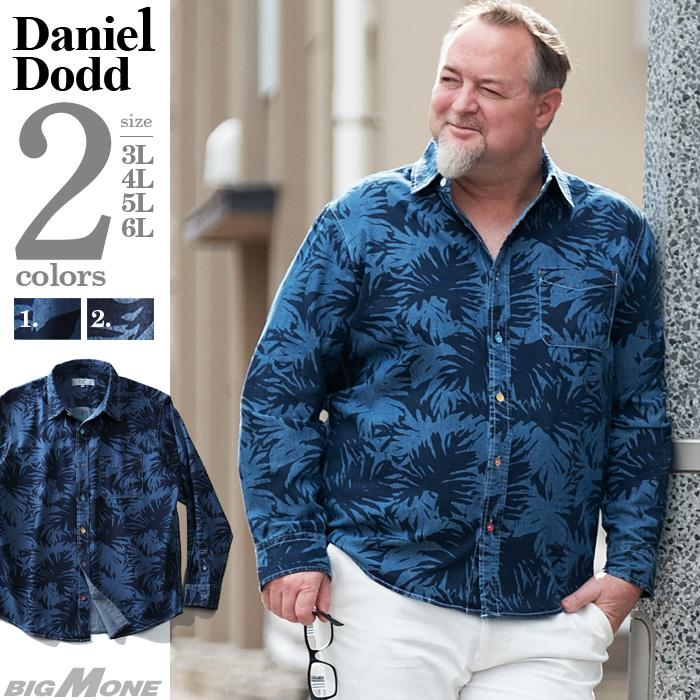 シャツ割 大きいサイズ メンズ DANIEL DODD 長袖 デニム 総柄 シャツ 916-200103