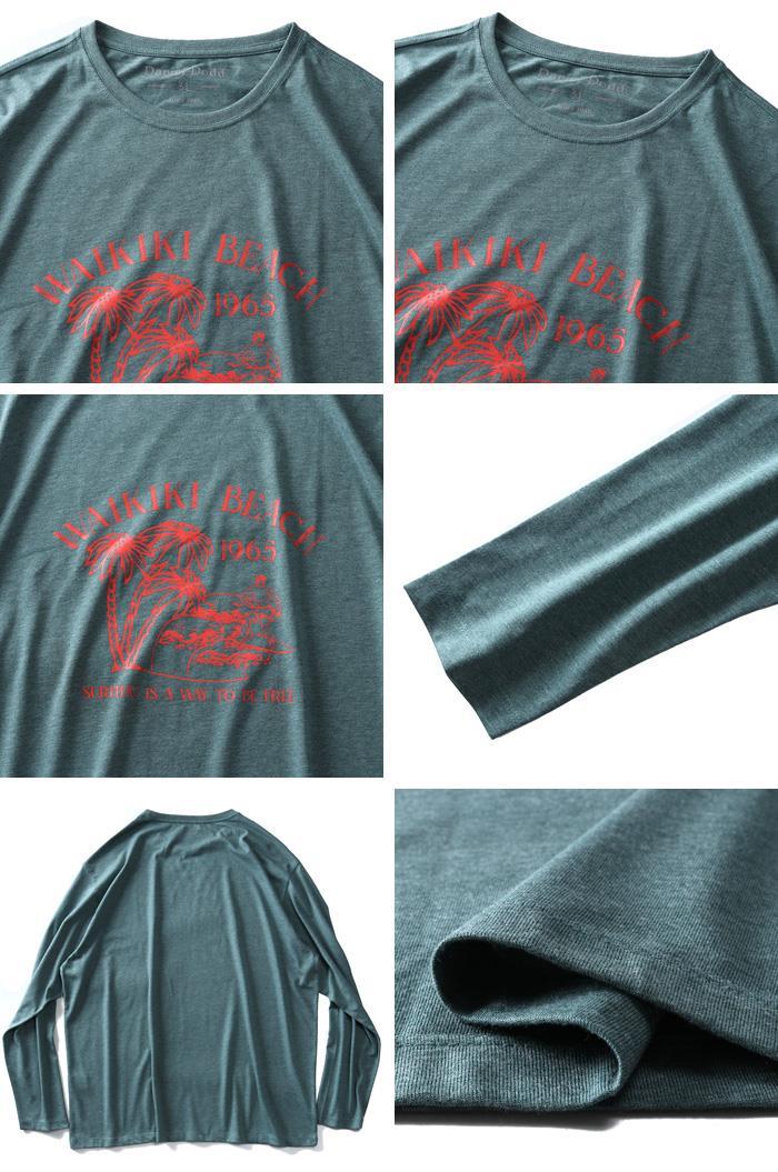 大きいサイズ メンズ DANIEL DODD オーガニックコットン プリント ロング Tシャツ WAIKIKI BEACH azt-200107