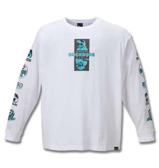 大きいサイズ メンズ b-one-soul DUCK DUDE 長袖 Tシャツ ホワイト 1258-0110-1 3L 4L 5L 6L