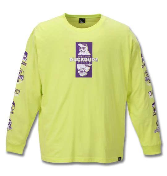 大きいサイズ メンズ b-one-soul DUCK DUDE 長袖 Tシャツ ライム 1258-0110-3 3L 4L 5L 6L