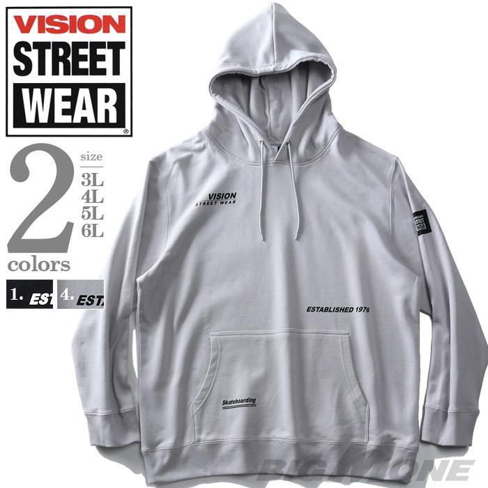 大きいサイズ メンズ VISION STREET WEAR マルチロゴ プルオーバー パーカー 0304121