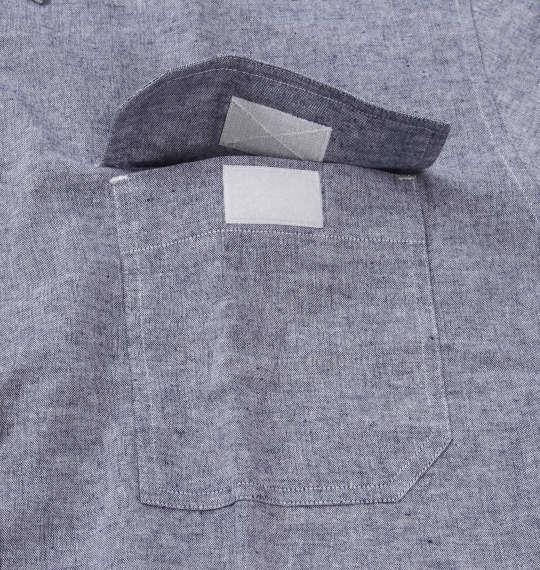 大きいサイズ メンズ OUTDOOR PRODUCTS 綿麻 ダンガリー ロールアップ 長袖 シャツ ネイビー 1257-0100-1 3L 4L 5L 6L 8L