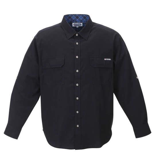 大きいサイズ メンズ OUTDOOR PRODUCTS 綿麻 ダンガリー ロールアップ 長袖 シャツ ブラック 1257-0100-2 3L 4L 5L 6L 8L