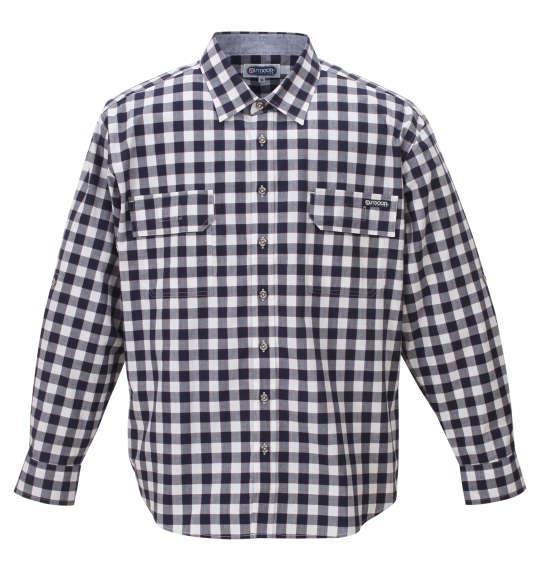 大きいサイズ メンズ OUTDOOR PRODUCTS ロールアップ リップストップ チェック 長袖 シャツ ホワイト×ネイビー 1257-0101-1 3L 4L 5L 6L 8L