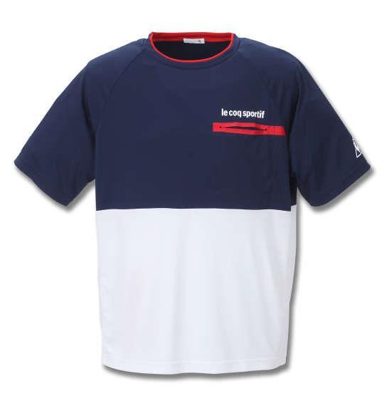大きいサイズ メンズ LE COQ SPORTIF アクティブ ソフト スムース 半袖 Tシャツ ネイビー 1278-0150-1 2L 3L 4L 5L 6L
