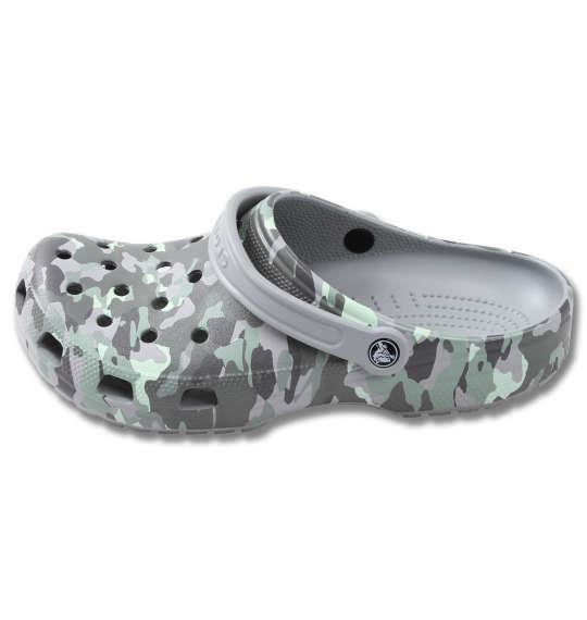 大きいサイズ メンズ crocs サンダル クラシック プリンテッドカモ クロッグ ライトグレー × ネオミント 1240-0231-1 M11 M12 M13