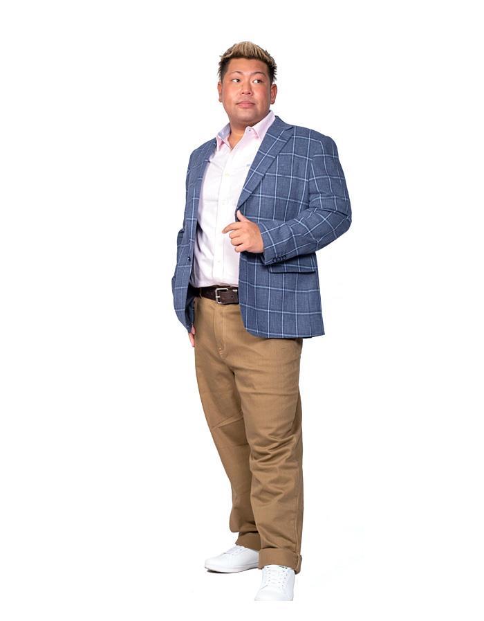 大きいサイズ メンズ SARTORIA BELLINI コットン & リネン ストレッチ ウィンドペン チェック柄 2ツ釦 テーラード ジャケット azj32s20023