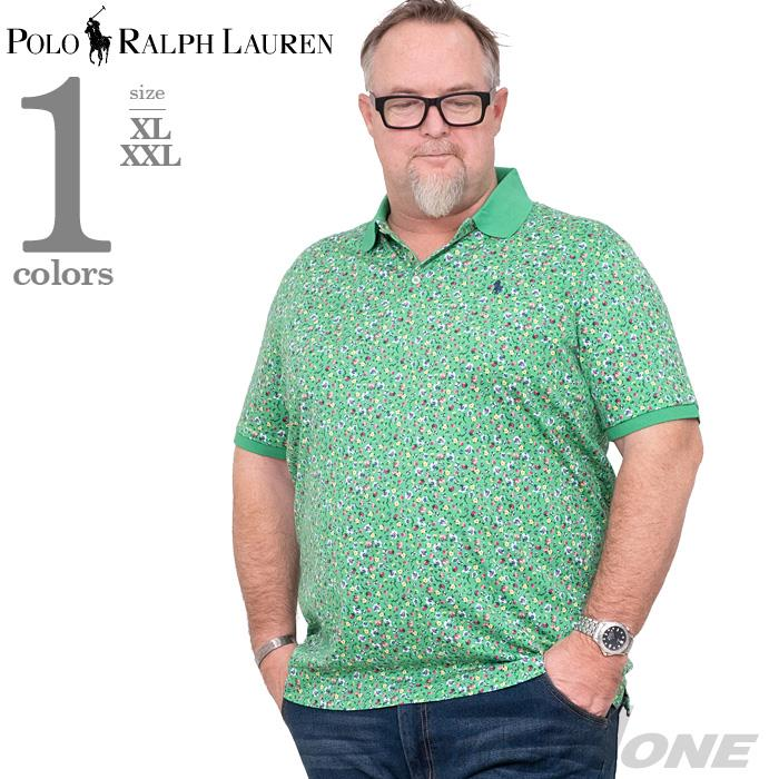 大きいサイズ メンズ POLO RALPH LAUREN ポロ ラルフローレン 総柄 鹿の子 半袖 ポロシャツ USA直輸入 710781414
