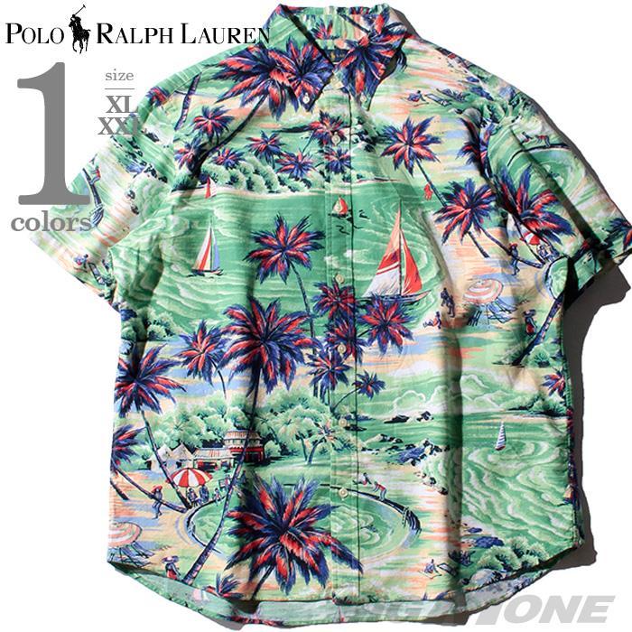 ブランドセール 大きいサイズ メンズ POLO RALPH LAUREN ポロ ラルフローレン 総柄 半袖 ボタンダウン シャツ USA直輸入 710777157