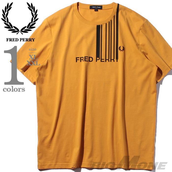 ブランドセール 大きいサイズ メンズ FRED PERRY フレッドペリー ロゴ プリント 半袖 Tシャツ USA直輸入 m7601