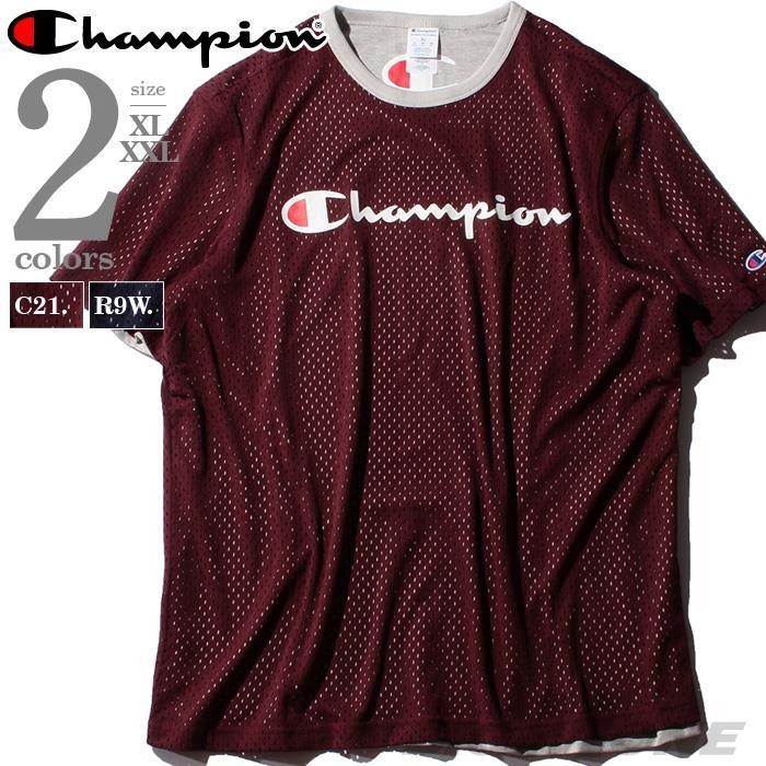ブランドセール 大きいサイズ メンズ Champion チャンピオン リバーシブル ロゴ プリント メッシュ 半袖 Tシャツ USA直輸入 t4504