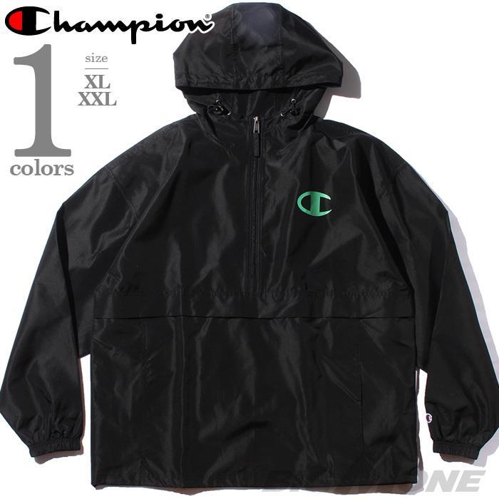 大きいサイズ メンズ Champion チャンピオン ハーフジップ フード付 パッカブル ジャケット パーカー USA直輸入 v1012