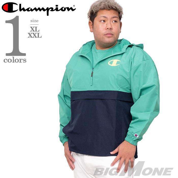 大きいサイズ メンズ Champion チャンピオン ハーフジップ フード付 パッカブル ジャケット パーカー USA直輸入 v1016