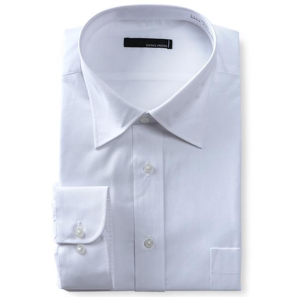 2点目半額 大きいサイズ メンズ NEWS PRESS 長袖 ワイシャツ セミワイドカラー レギュラー 形態安定 eanp90-1