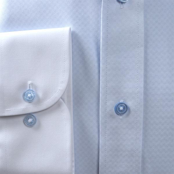 2点目半額 大きいサイズ メンズ DANIEL DODD ノーアイロン 形態安定 長袖 ニット ワイシャツ セミワイドカラー クレリック 吸水速乾 ストレッチ 日本製生地使用 kcr01000-5