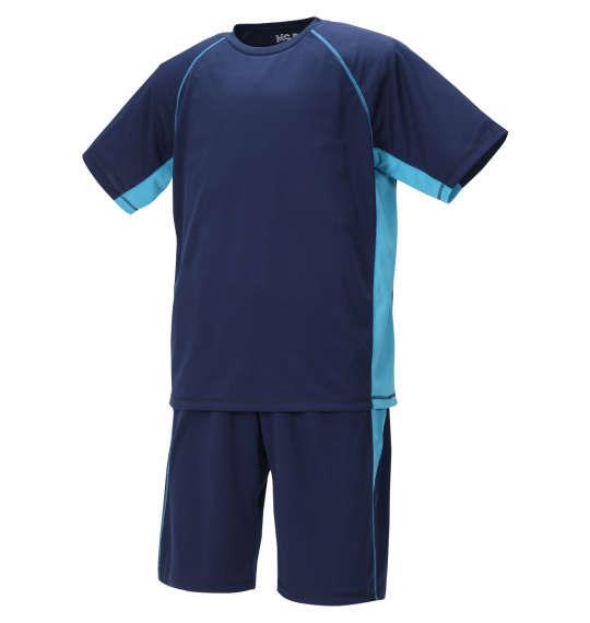 大きいサイズ メンズ Mc.S.P 吸汗速乾 半袖 Tシャツ + ハーフパンツ ネイビー × サックス 1256-0220-1 3L 4L 5L 6L 8L