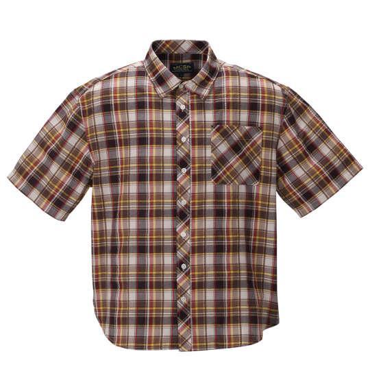 大きいサイズ メンズ Mc.S.P チェック 半袖 シャツ ベージュ × ブラウン 1257-0201-1 3L 4L 5L 6L 8L