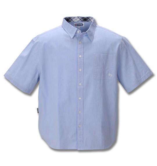 大きいサイズ メンズ OUTDOOR PRODUCTS 綿麻 ダンガリー 半袖 シャツ ブルー 1257-0250-2 3L 4L 5L 6L 8L