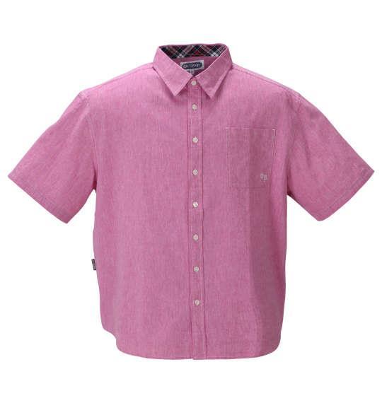 大きいサイズ メンズ OUTDOOR PRODUCTS 綿麻 ダンガリー 半袖 シャツ ピンク 1257-0250-4 3L 4L 5L 6L 8L