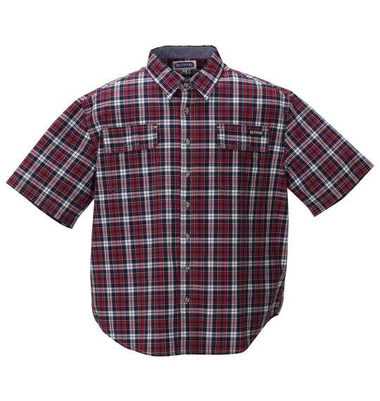 大きいサイズ メンズ OUTDOOR PRODUCTS リップストップ チェック 半袖 シャツ レッド 1257-0251-1 3L 4L 5L 6L 8L