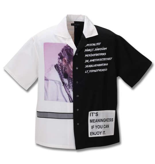 大きいサイズ メンズ in the attic 配色切替 半袖 シャツ ホワイト × ブラック 1257-0261-1 2L 3L 4L 5L 6L