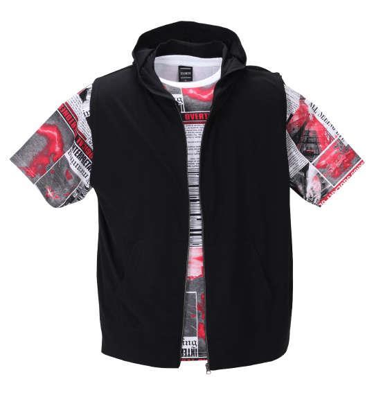 大きいサイズ メンズ BEAUMERE ノースリーブ フルジップ パーカー + 総柄 半袖 Tシャツ ブラック × レッド 1258-0241-1 3L 4L 5L 6L
