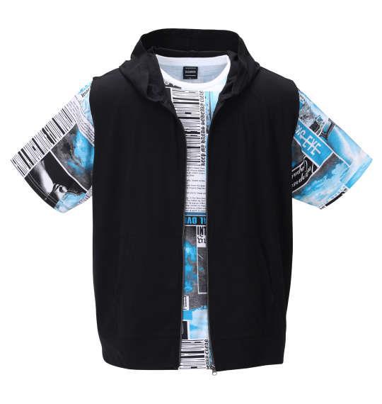 大きいサイズ メンズ BEAUMERE ノースリーブ フルジップ パーカー + 総柄 半袖 Tシャツ ブラック × ターコイズ 1258-0241-2 3L 4L 5L 6L