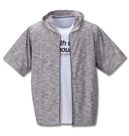 大きいサイズ メンズ launching pad スラブリップル 半袖 フルジップ パーカー + 半袖 Tシャツ ホワイト杢 × ホワイト 1258-0270-1 3L 4L 5L 6L