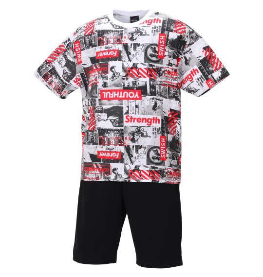 大きいサイズ メンズ SHOCK NINE 総柄 半袖 Tシャツ + ミニ 裏毛 ハーフパンツ レッド × ブラック 1258-0292-1 3L 4L 5L 6L