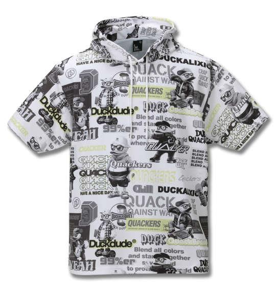 大きいサイズ メンズ b-one-soul DUCK DUDE オールオーバー 半袖 プル パーカー ホワイト 1258-0514-1 3L 4L 5L 6L