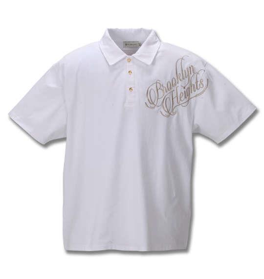 大きいサイズ メンズ GLADIATE ベア天竺 ALL刺繍 半袖 ポロシャツ ホワイト 1258-0571-1 3L 4L 5L 6L