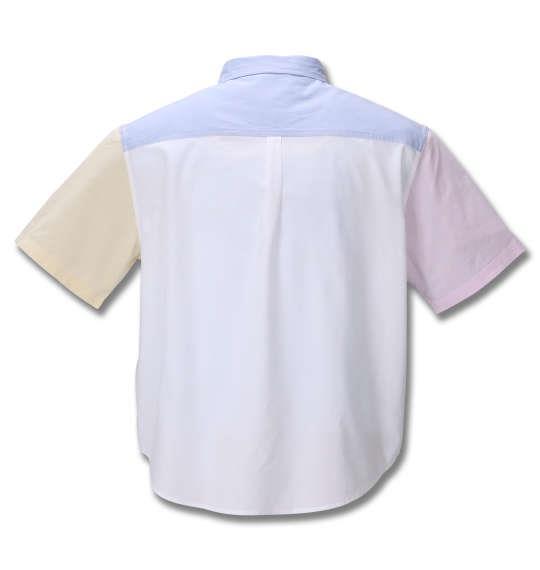 大きいサイズ メンズ H by FIGER オックス クレイジー 切替 半袖 B.D シャツ ホワイト × サックス 1267-0213-1 3L 4L 5L 6L 8L