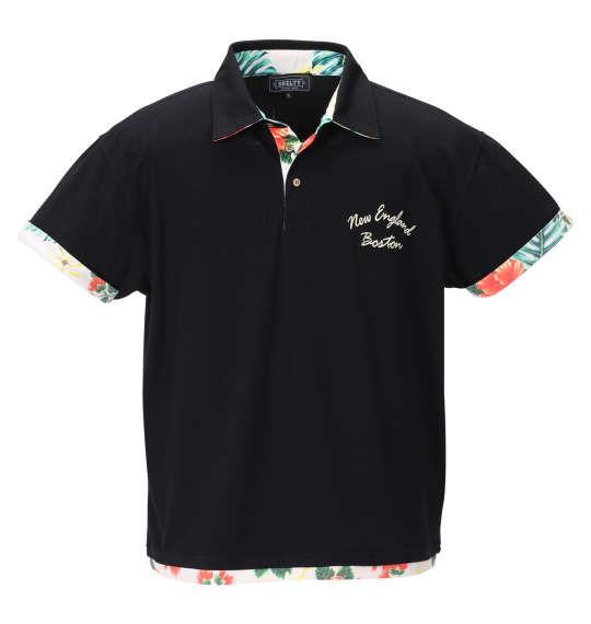 大きいサイズ メンズ SHELTY 鹿の子 ボタニカル 切替 半袖 ポロシャツ ブラック 1268-0233-2 3L 4L 5L 6L 8L