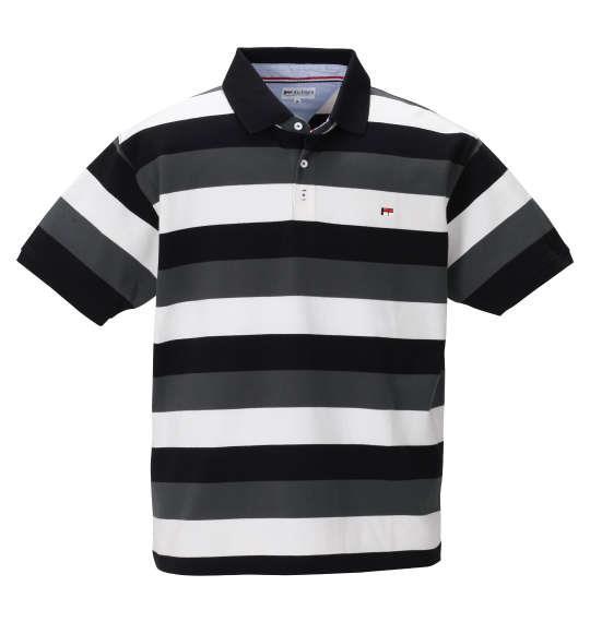 大きいサイズ メンズ H by FIGER ボーダー 半袖 ポロシャツ ブラック × チャコール 1268-0251-2 3L 4L 5L 6L 8L