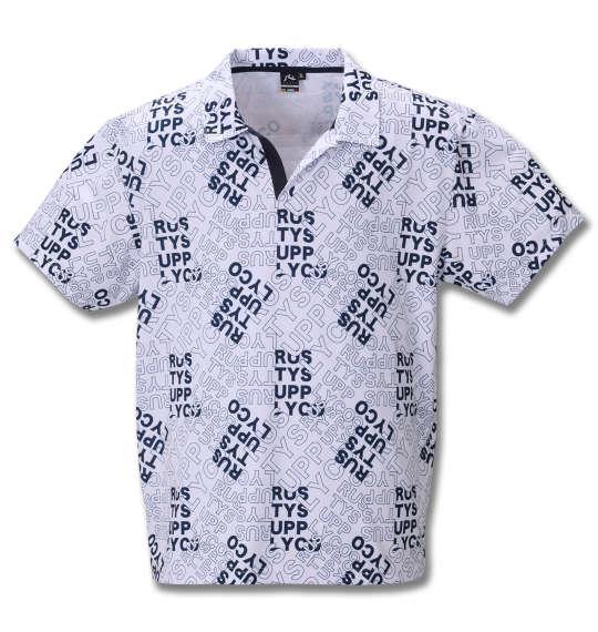 大きいサイズ メンズ RUSTY GOLF ロゴプリント スキッパー 半袖 シャツ ホワイト 1278-0206-1 3L 4L 5L 6L