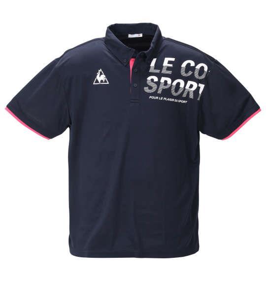 大きいサイズ メンズ LE COQ SPORTIF ドライ ピンメッシュ 半袖 ポロシャツ ネイビー 1278-0233-2 2L 3L 4L 5L 6L