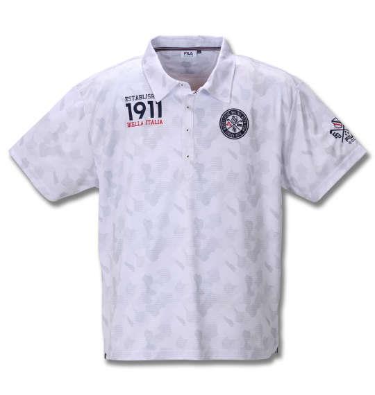 大きいサイズ メンズ FILA GOLF カモエンボス柄 半袖 ポロシャツ ホワイト 1278-0246-1 3L 4L 5L 6L