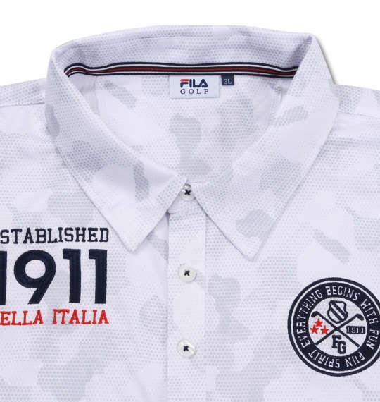 【golf1】大きいサイズ メンズ FILA GOLF カモエンボス柄 半袖 ポロシャツ ホワイト 1278-0246-1 3L 4L 5L 6L