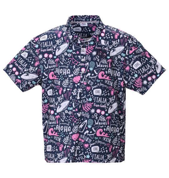 【golf1】大きいサイズ メンズ FILA GOLF コミックアロハ柄 半袖 ポロシャツ ネイビー 1278-0247-1 3L 4L 5L 6L