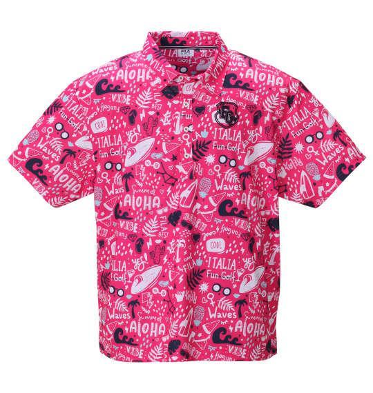 【golf1】大きいサイズ メンズ FILA GOLF コミックアロハ柄 半袖 ポロシャツ ピンク 1278-0247-2 3L 4L 5L 6L