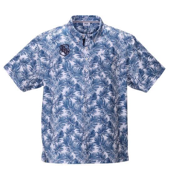 【golf1】大きいサイズ メンズ FILA GOLF 裏接触冷感 ボタニカル柄 半袖 ポロシャツ ネイビー 1278-0248-1 3L 4L 5L 6L
