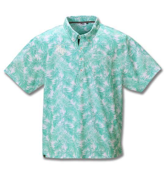 【golf1】大きいサイズ メンズ FILA GOLF 裏接触冷感 ボタニカル柄 半袖 ポロシャツ ターコイズ 1278-0248-2 3L 4L 5L 6L