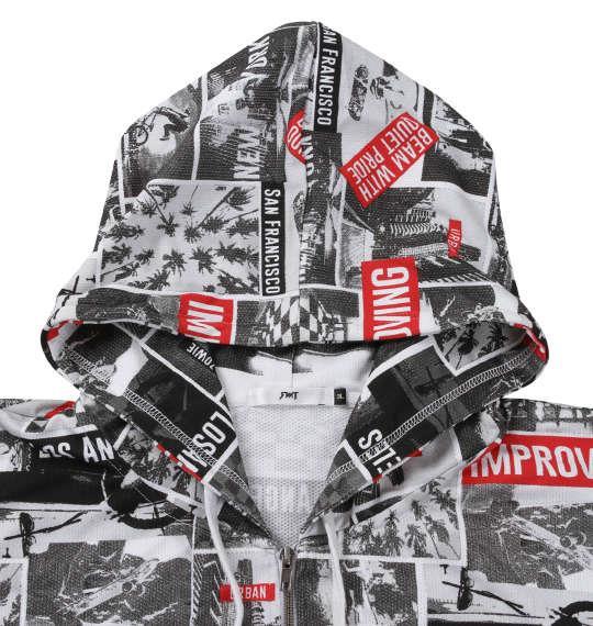 大きいサイズ メンズ RIMASTER メッシュフォト 総柄 半袖 パーカー + 半袖 Tシャツ ホワイト × ブラック 1258-0250-1 3L 4L 5L 6L 8L