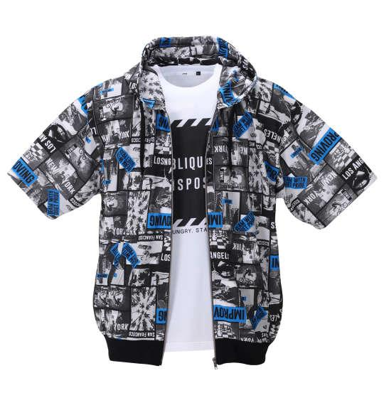 大きいサイズ メンズ RIMASTER メッシュフォト 総柄 半袖 パーカー + 半袖 Tシャツ ブラック × ホワイト 1258-0250-2 3L 4L 5L 6L 8L