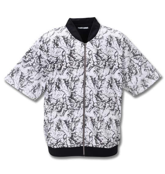 大きいサイズ メンズ RIMASTER メッシュクラック 総柄 半袖 ブルゾン + 半袖 Tシャツ ホワイト × ブラック 1258-0252-1 3L 4L 5L 6L 8L