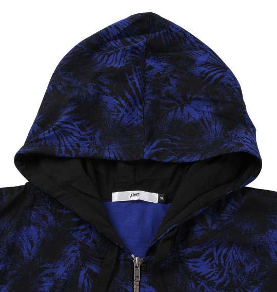 大きいサイズ メンズ RIMASTER カスレボタニカル 総柄 ノースリーブ パーカー + 半袖 Tシャツ ロイヤルブルー × ホワイト 1258-0253-2 3L 4L 5L 6L 8L