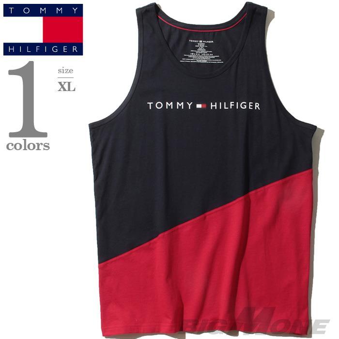 ブランドセール 大きいサイズ メンズ TOMMY HILFIGER トミーヒルフィガー ロゴプリント 切替 タンクトップ USA直輸入 09t3545